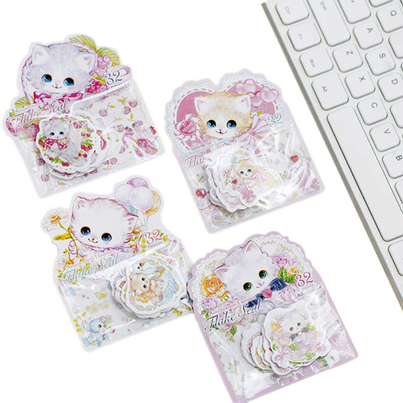 32pcs/pack Cute cats flower Bronzing Decoration Stickers DIY Diary Scarpbooking Label Sticker