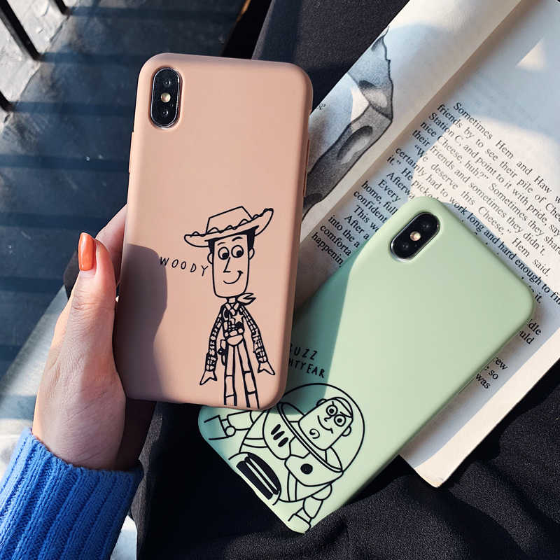 Cartoon Toy Story Buzz Lightyear woody matte Phone Case For iphone Xs MAX XR X 6 6s 7 8 plus Candy soft TPU back cover Capa