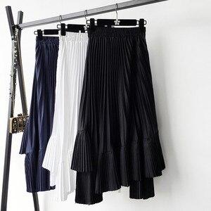 Image 3 - 2020 סתיו חדש הגעה קוריאנית סדיר חצאית מתוק קפלים שיפון חצאית Faldas Largas Elegantes שחור חצאיות משלוח חינם