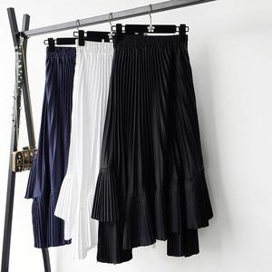 Image 3 - 2020 jesień nowy nabytek koreańska nieregularna spódnica słodki plisowany szyfon spódnica Faldas Largas Elegantes czarne spódnice darmowa wysyłka