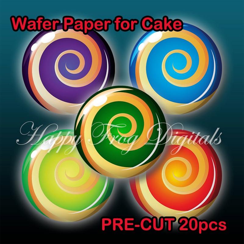 Cute lollipop pattern 4 cm edible wafer paper pre cut ...