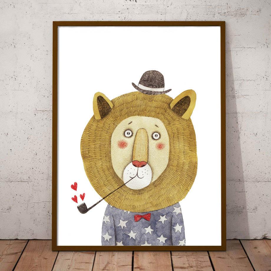 Nástěnné malby na plátně Malířství Lion Bear Panda Fox Nordic Plakáty a tisky Akvarely Nástěnné obrazy pro Obývací pokoj Dětský pokoj Dekor
