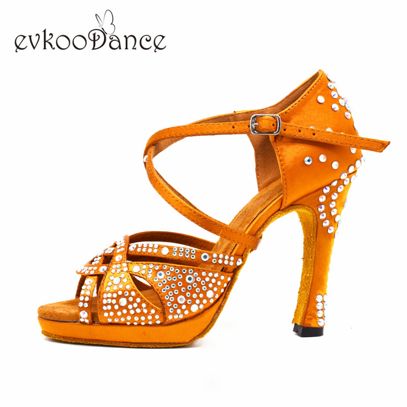 Dance-Latin-Shoes-High-Heels-with-Platform-Bronze-Latin-Dance-Shoes-Full-Rhinestone-12cm-Square-Dance
