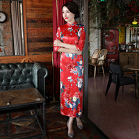 Hisenky 2019 Long Cheongsam Dress Tavas Robe Chinoise Women Qipao Plus Size Elegant Evening Dress Vestido Chinese Abendkleider