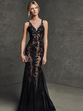 f4a987034b 2017 double-shoulder black lace fish tail evening dress banquet evening  dress dinner long slim design prom dresses