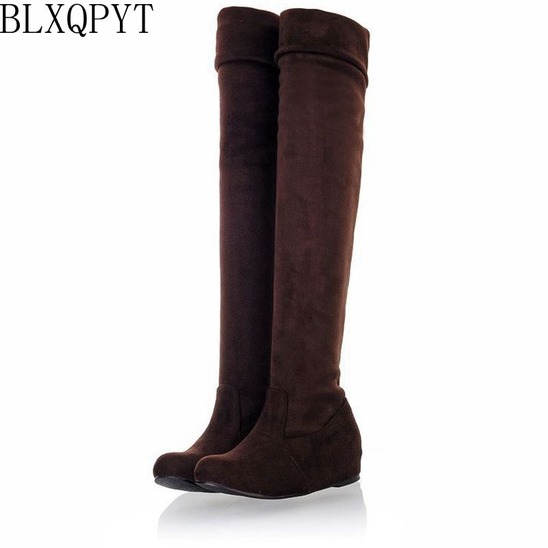 BLXQPYT Big Size 34-47 autumn Winter Warm Shoes Woman Sexy Leopard Casual Round toe Flat heels Over the knee Women Boots 865 enmayer sexy red shoes woman high heels bowties charms size 34 47 zippers round toe winter over the knee boots platform shoes page 1