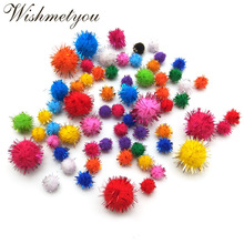 WISHMETYOU 100pcs 10/15/20/25mm Colorful Sequin Pompom Balls For Kids Diy Glitter Foam Handmade Crafts Supplies Fur