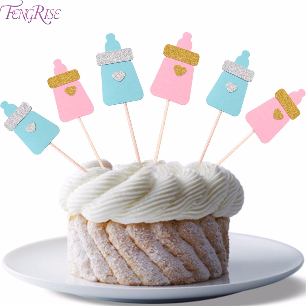 FENGRISE Feeding Bottle Cupcake Topper Baby Shower Its A Boy Girl Kids Birthday Cake Toppers Blue Pink Party Decoration Supplies