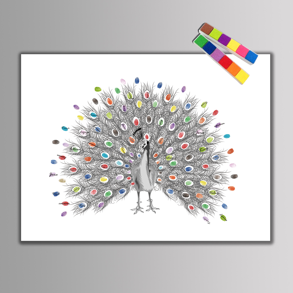 Creative Fingerprints Signature DIY Beautiful Peacock Guest Book For Wedding Decoration Souvenir Baby Shower Birthday Party