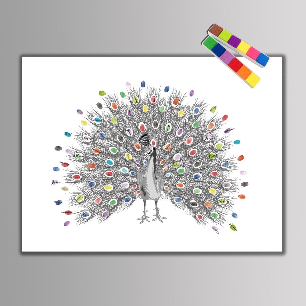 Creativo huellas dactilares firma DIY Pavo Real hermoso libro de ...