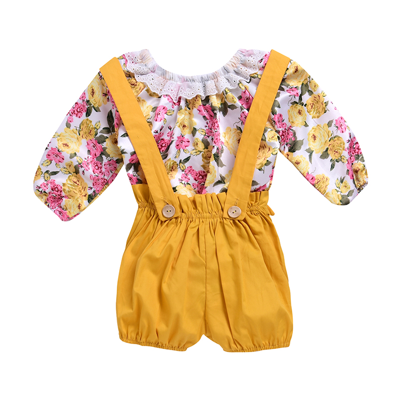 2018 Summer Baby Girl Clothes Newborn Kids Flower Tops Romper +Strap Shorts Toddler Tracksuit Infant Lovely Fashion Suit Outwear