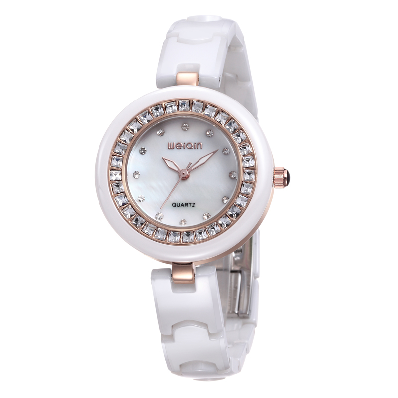 WEIQIN Ladies Watches Womens Luxury Brand Waterproof Quartz Ceramic Bracelet Watch Women Rhinestone Gold Wristwatch reloj mujer стоимость