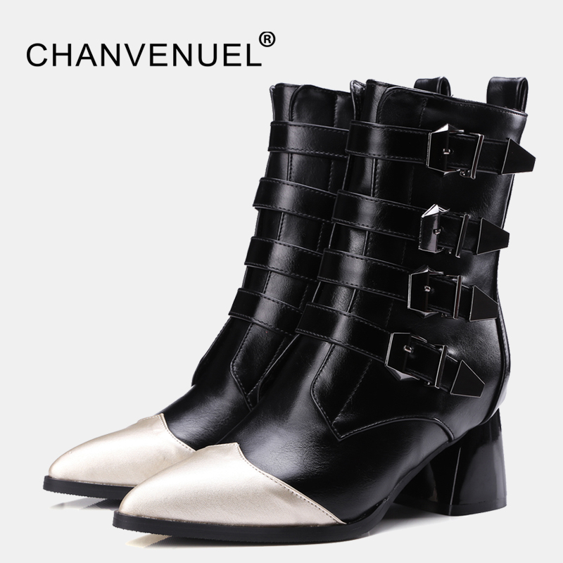 Women Buckle Ankle Boots Winter Fur Warm High Heels Boots For Women Fashion Pointed Toe Chunky Heel Boot  PU Leather Shoes women buckle ankle boots winter fur warm high heels boots for women fashion pointed toe chunky heel boot pu leather shoes