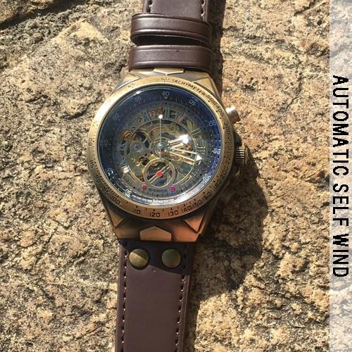 HTB12izNX42rK1RkSnhJq6ykdpXaC Steampunk Bronze Automatic Watch Men Mechanical Watches Vintage Retro Leather Transparent Skeleton Watch Man Clock montre homme