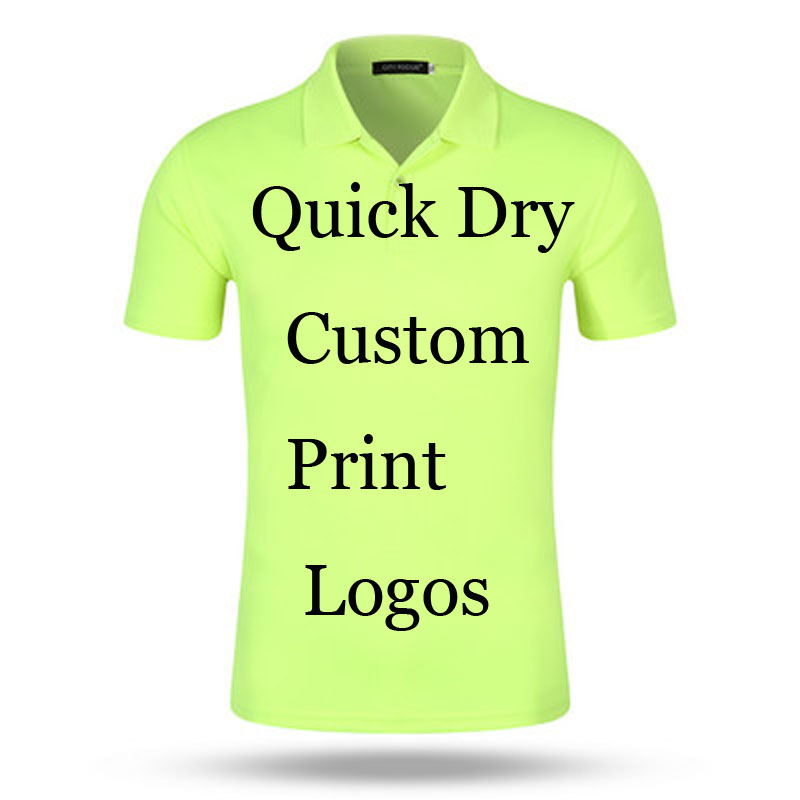 Custom Quick Dry Poloshirt Printing Logo Designs Customized Make Embroidery Print company Office Ad 100% Poly   Polos   Shirts