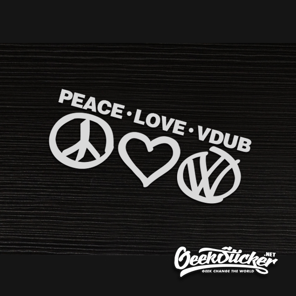 Peace Love VW reflective car sticker hellaflush window decals Car Styling for volkswagen golf Jetta Scirocco black and white