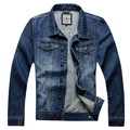 Men`s Outwear Casual 100%Cotton Solid Color Turn Down Collar Plus Size Jeans Single Breasted Washed Fit Denim Jacket For Men