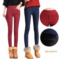 Women Pencil Pants Fleece Warm Casual Trousers Elastic Waist Winter Velvet Thick Stretch Leggings Drop Shipping