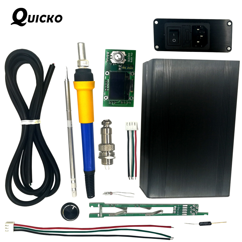 QUICKO Soldering Station DIY kits/STC T12 OLED Digital Temperature Controller/T12-907 handle Meatal case with T12-K solder iron lf005 t12 digital soldering station handle t12 i solder tip for bk950d