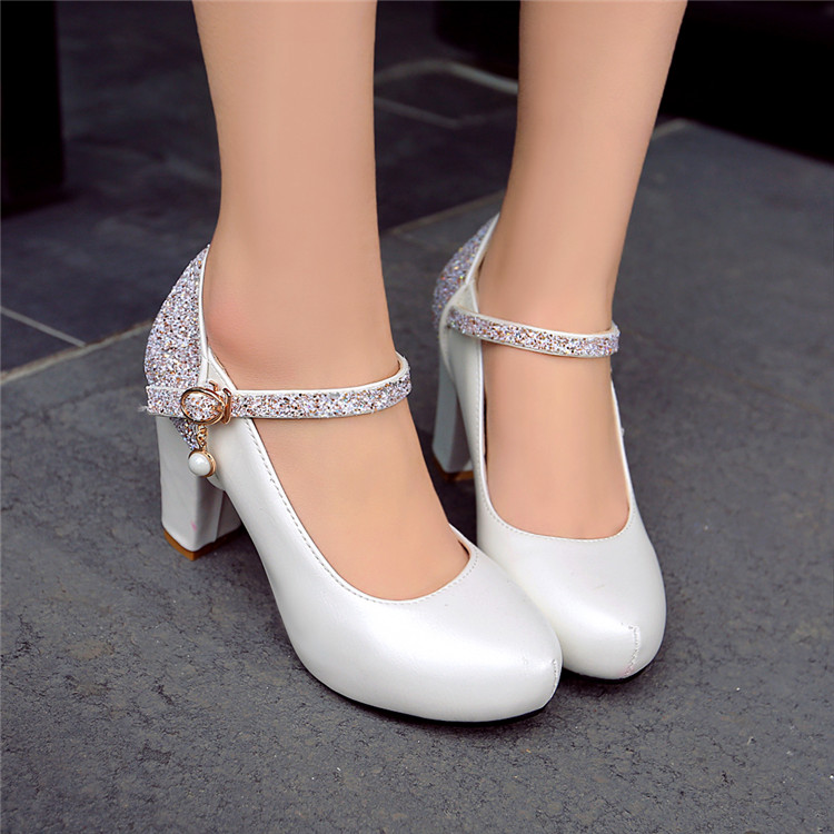 PXELENA Elegant Bride Wedding Shoes Women High Heels Bling Bling Sequined White Pink Ankle Strap Pumps
