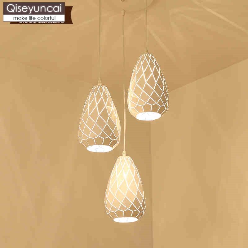 Qiseyuncai Modern minimalist three headed restaurant chandelier creative fashion atmosphere warm hollow design restaurant lamps|Pendant Lights|   - title=