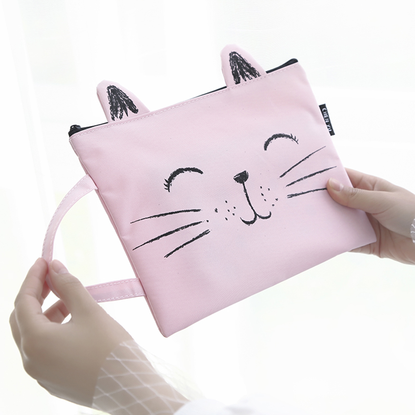 Cute Kitten Shape Canvas Handbag A4 Paper Holder File Folder Zipper Bag Cartoon School Office Supplies Data Document Storage