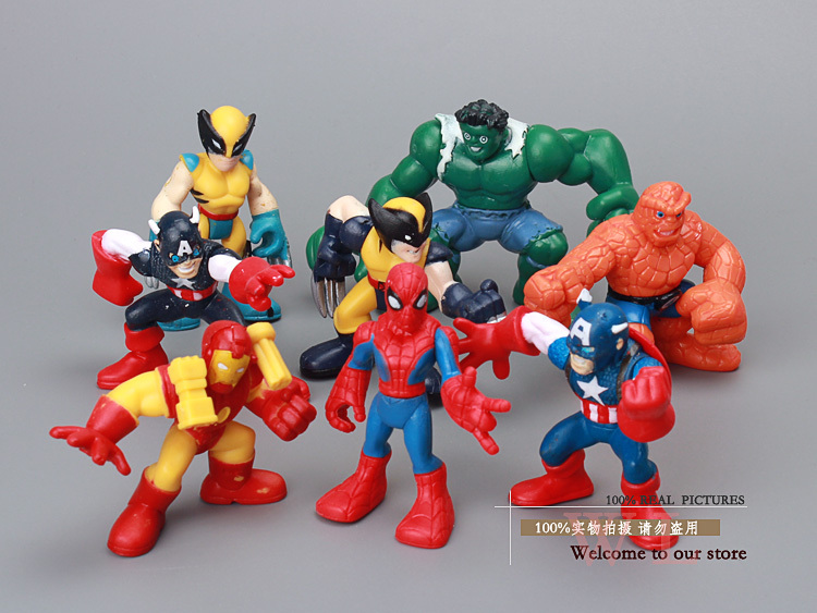 8pcs Packs Marvel Action Figure Toys Captain America And