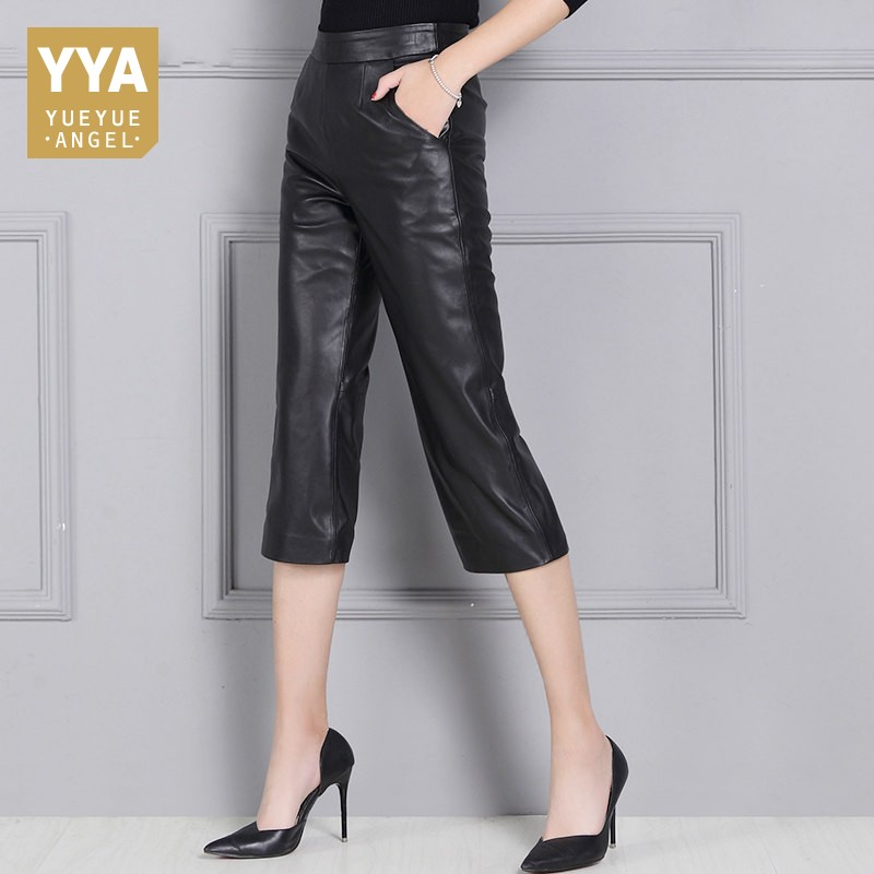 Top Brand Genuine Leather Pants Women Wide Leg Calf Length Trousers Office Ladies High Waist Casual