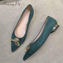 745bb6e018 Krazing Pote ovelhas camurça rasa decoração do metal elegante marca casual  sapatos flats deslizar sobre jovens