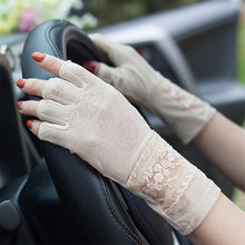 Summer New Style Semi-Finger Lace Sunscreen Gloves Female Anti-Slip Breathable Anti-UV Ice Silk Half Fingers Women Mittens TB53
