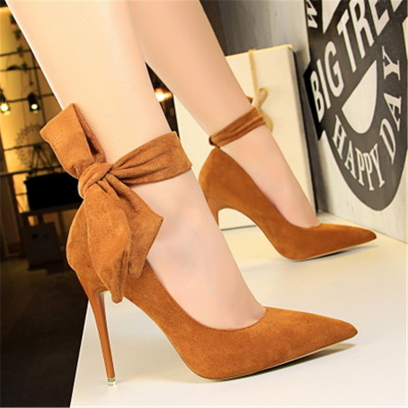 Women Pumps Sexy Pointed Toe Ladies Red High Heels Shoes sandles Ankle Strap Wedding Party Shoes basic pump