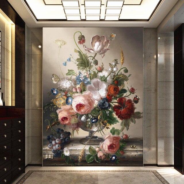 Custom 3D Flower Wallpaper Mural Floral Modern European Decor Entrance  Hallway Background Livingroom Bedroom Damask Desktop