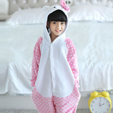 Children Kids Flannel Animal Pajamas Anime Cartoon Costumes Sleepwear Cosplay Onesie Dot Cat