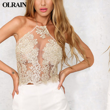 Olrain 2017 New Summer Womens Sexy Beach Lace Crop Halter Backless Embroidery Slim Gauze Hollow Out Short Camis Tank Tops Party