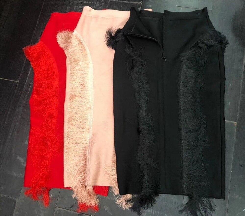 Borla Vendaje 3 Rosa Rodilla Colores Falda Mujer Nueva Imperio Rojo Paquete Cadera Bodycon Negro Femininas longitud 2018 Verano Faldas Rayón vFnwRXxSqF