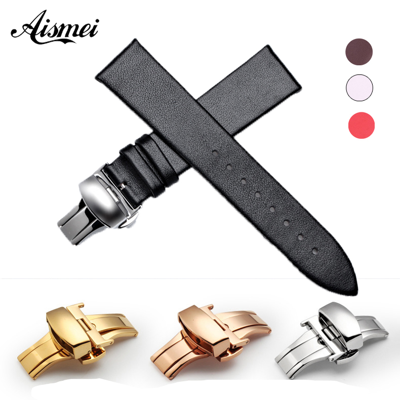 Watch Band Thin soft Genuine Leather Straps 12mm 14mm 16mm 18mm 20mm 22mm Men women Watchbands Push Clasp Watch Accessories все цены