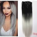 """22 """"(55 cm) 120g ombre 1b cor cinza Reta Longa Grampo de Cabelo Sintético em extensões do cabelo 7 pcs conjunto de fibra de alta temperatura"""