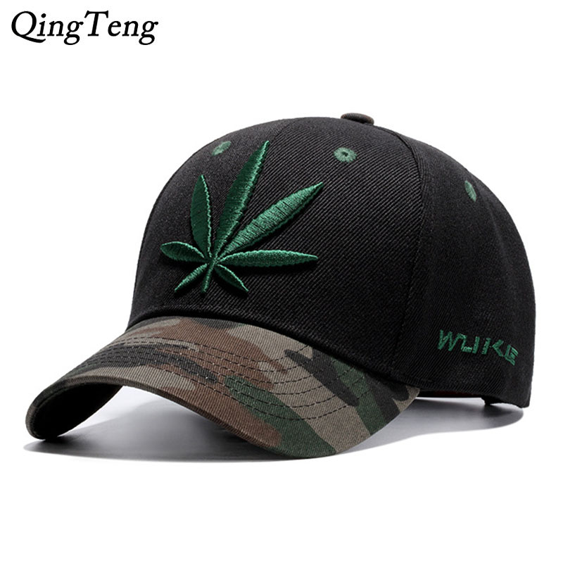 Camouflage Mens   Baseball     Caps   Brand Engravings Weed Snapback Hats For Women Swag Hip Hop Casquette Casual Outdoor Sport Bone