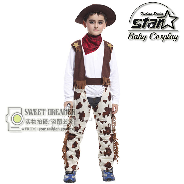 4 PCS Set Kids West Cowboy Costume Halloween Cosplay Clothing For Children Boys Performance Children Stage Carnival Costumes halloween costumes for children boys kids cosplay costume fantasia disfraces game uniforms kids clothes set