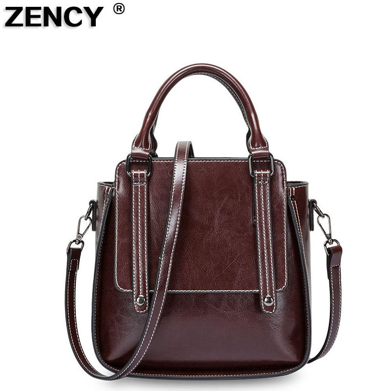 2019 Genuine Leather Summer Women Tote Girl Elegant Handbags Second Layer Oil Wax Cowhide Female Crossbody