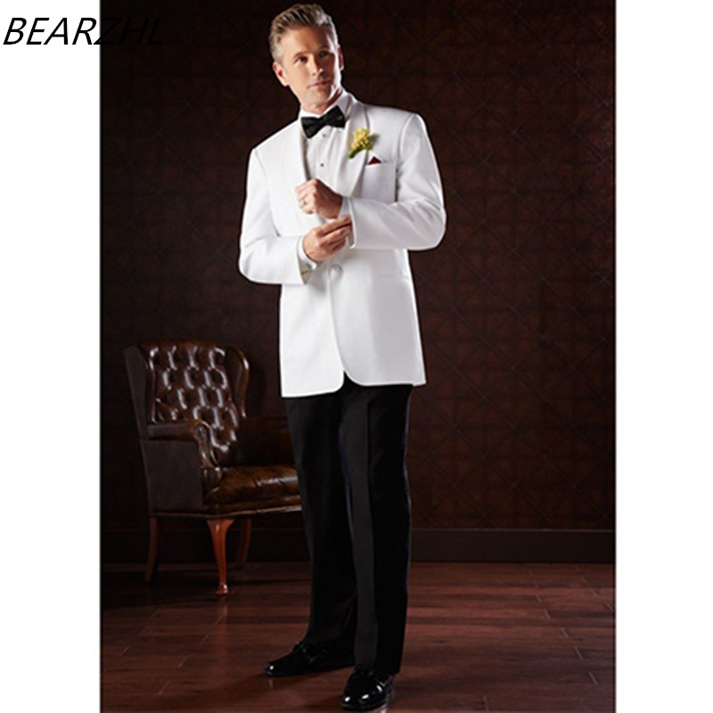 mens suits slim tuxedos white custom made suit wool bleed groom wear 2019