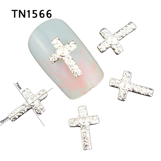 Blueness 10pcslot Sliver Cross Design Nail Art Manicure Jewelry