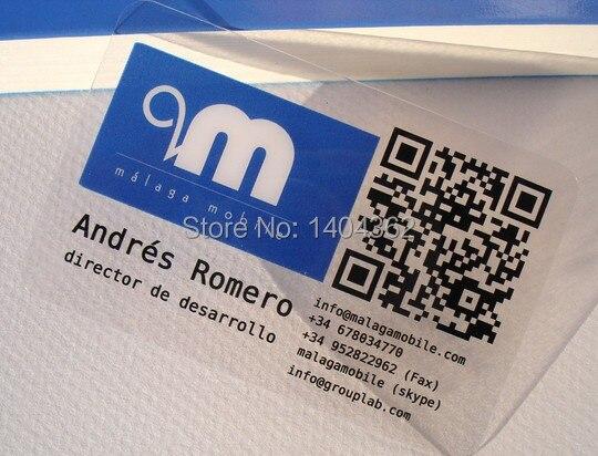 Personnalis Mat Visages En Plastique Transparent PVC Cartes De Visite Une Face Impression Clair Carte