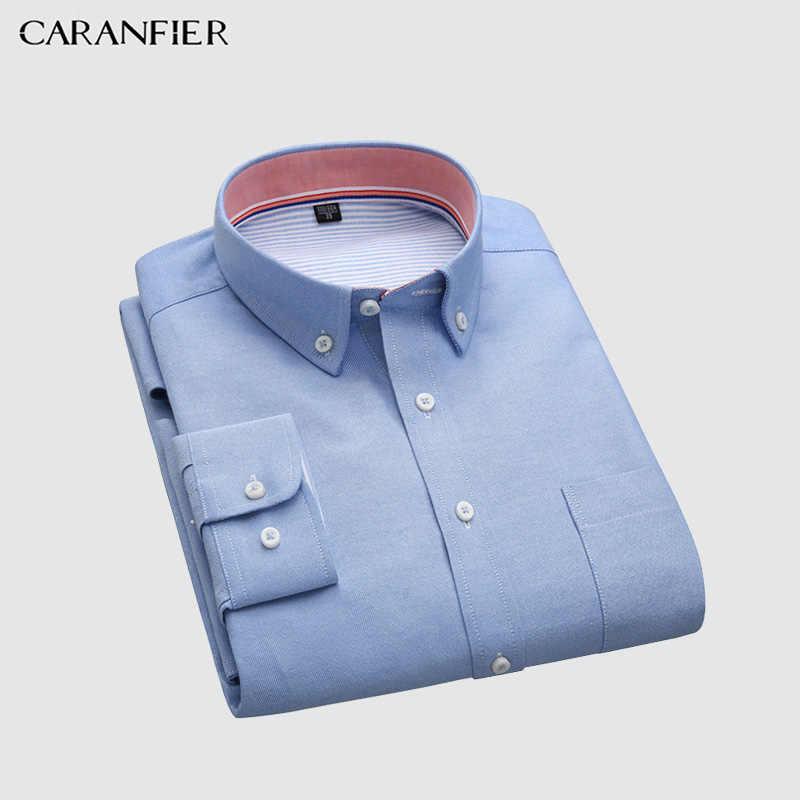 CARANFIER Мужская Повседневная рубашка в полоску с длинными рукавами плюс размер мужская хлопковая рубашка мужской деловой воротник Осенняя мужская Повседневная Блузка мягкого силуэта