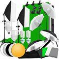 33037071836 - ZUOCHEN estudio fotográfico Softbox paraguas con iluminación Kit de fondo soporte Stand 4 Juego de escenario