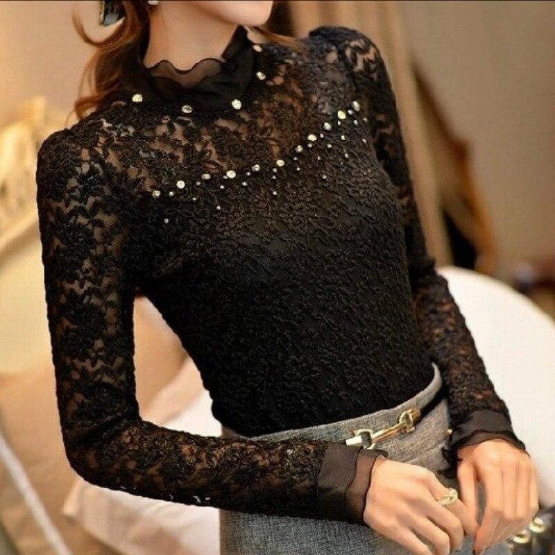 Ladies Crochet Shirt Femininas Ruffled Neck Lace Sheer Shirts Vestidos Blusas Tops Plus Measurement 5Xl