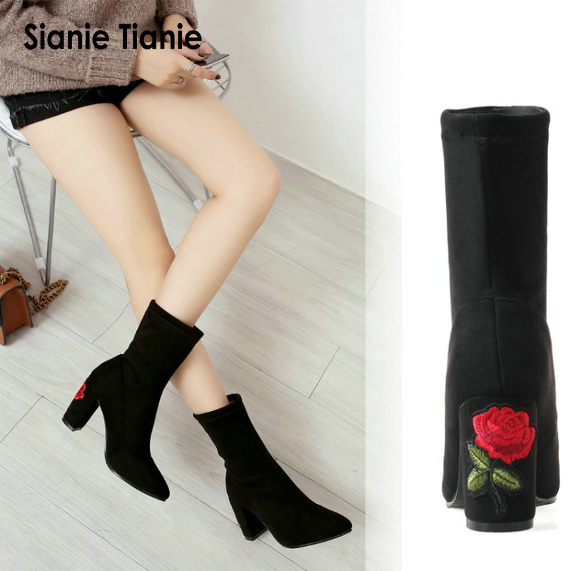 Sianie Tianie 2018 Female Sexy Stiletto Sock Booties Stretch Fabric Pointed Toe High Heels Ankle Boots With Flower EmbroiderySianie Tianie 2018 Female Sexy Stiletto Sock Booties Stretch Fabric Pointed Toe High Heels Ankle Boots With Flower Embroidery