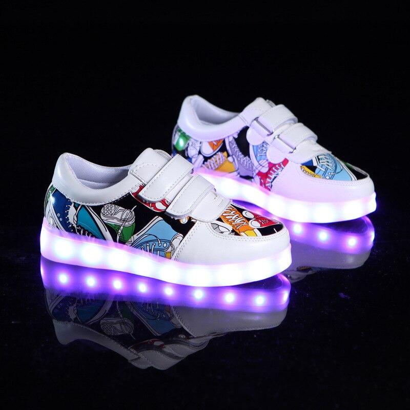 atarse en sección especial disponibilidad en el reino unido € 17.3 18% de DESCUENTO|2017 zapatos de moda para niños zapatos LED USB  recargables impresos para niños zapatillas luminosas para niños zapatos ...