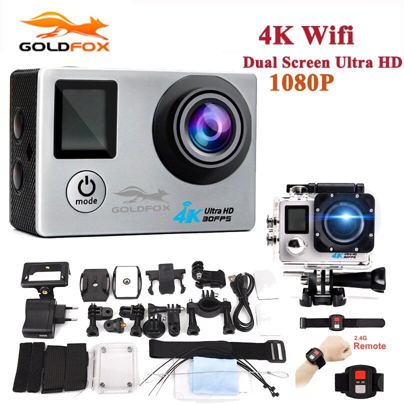 GOLDFOX D'action Caméra 4 K Ultra HD Sport Caméra LCD Double Écran 140D 16MP 4 K HD Wifi Sport DV Étanche 1080 P Mini Cam caméscope