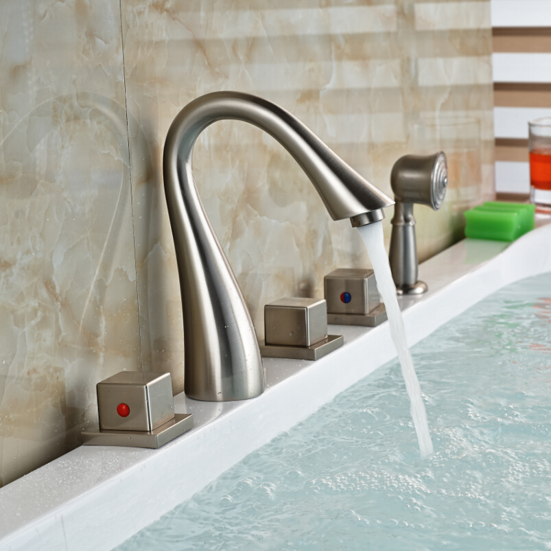 New 5pcs deck mounted waterfall bathtub bath tub faucet for Master sanitary price list